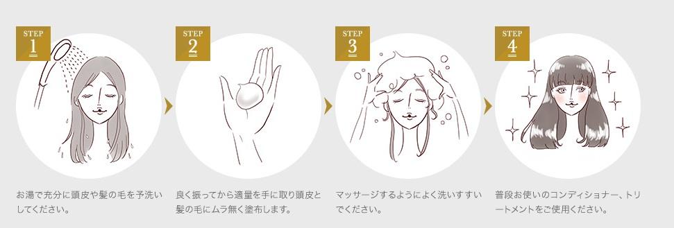 ルメントシャンプーの使い方説明図